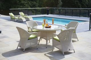 Sussex Four Seater Round Dining Set with Lime Cushions by Bridgman