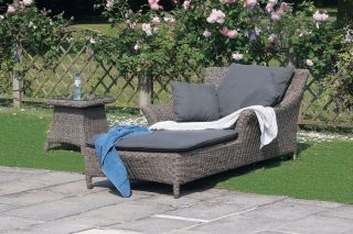 Valentine Single Rattan Sunbed and Side Table Set by Bridgman