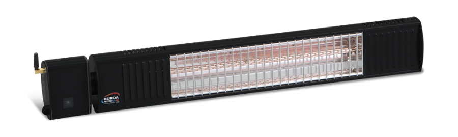 2kw Black Infrared Heater with Bluetooth Control and Ultra Low Glare by Burda™
