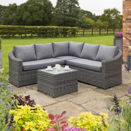 Bunbury Five Seater Rattan Corner Set in Grey by Rowlinson