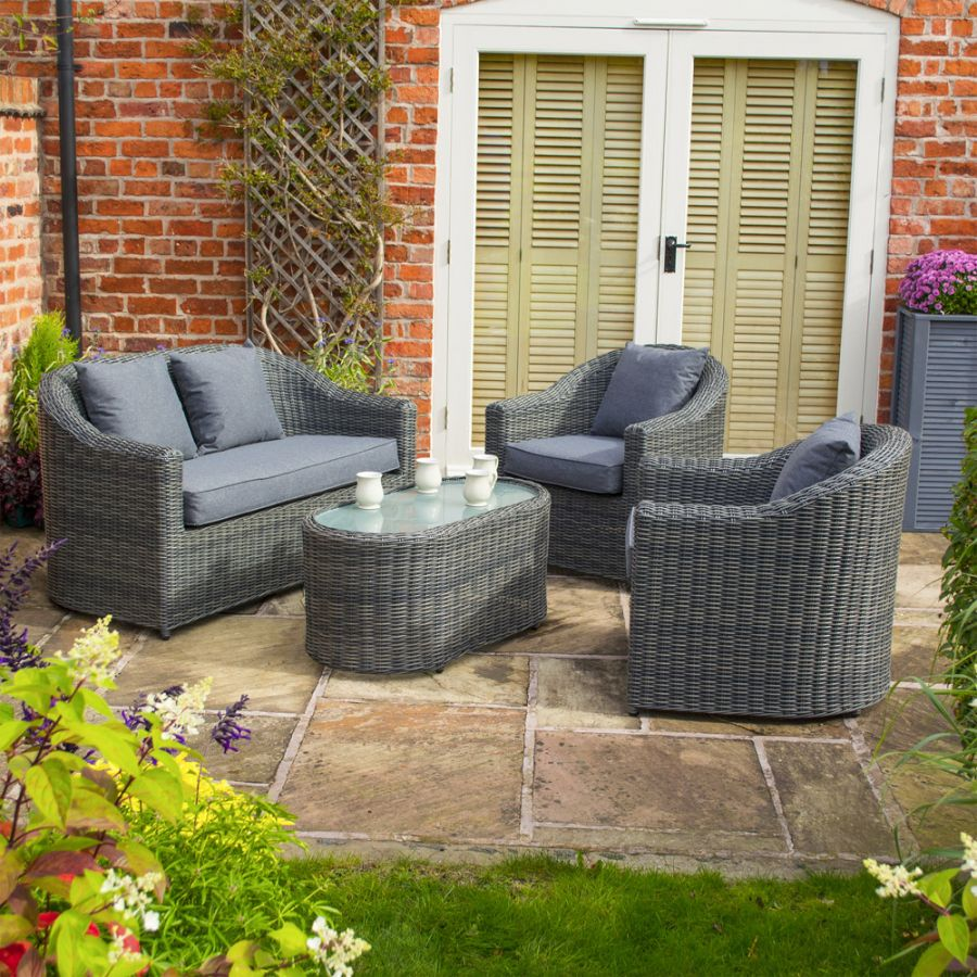Bunbury Four Seater Rattan Sofa Set in Grey by Rowlinson