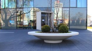 220cm Besso Polymer Concrete Seat Bowl Planter In Light Grey By Adezz