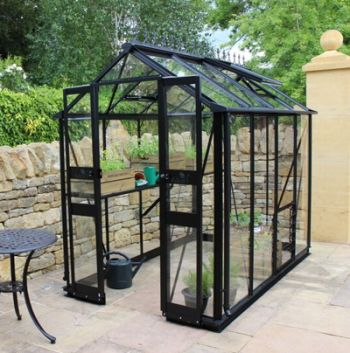Eden Birdlip Zero Threshold™ Aluminium Frame Double Door Greenhouse 4ft x 8ft in Black