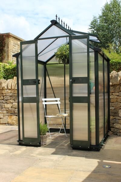 Eden Birdlip Zero Threshold™ Aluminium Frame Double Door Greenhouse in Green 4ft x 4ft