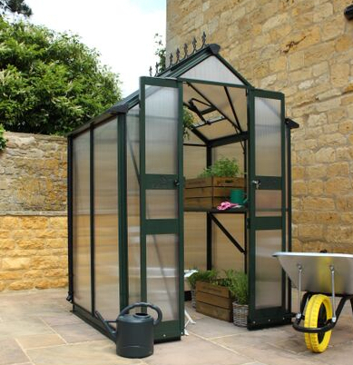 Eden Birdlip Zero Threshold™ Aluminium Frame Double Door Greenhouse 4ft x 8ft in Green