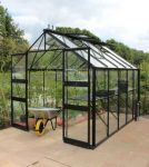 Eden Blockley Zero Threshold™ Aluminium Frame Double Door Greenhouse 8ft x 14ft in Black