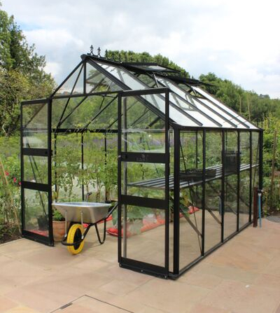 Eden Blockley Zero Threshold™ Aluminium Frame Double Door Greenhouse 8ft x 12ft in Black