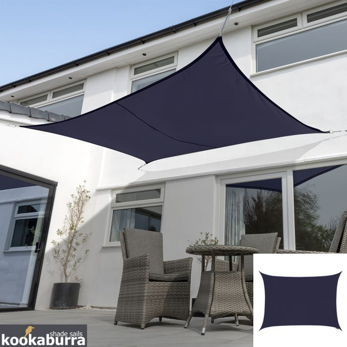 Kookaburra® 4mx3m Rectangle Blue Breathable Party Shade Sail (Knitted 185g)