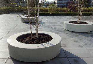 235cm Bodil Polymer Concrete Ring Seat Planter In Light Grey By Adezz