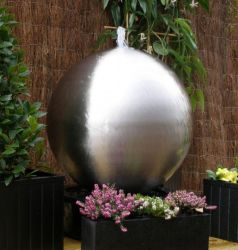 H28cm Brushed Sphere Stainless Steel Water Feature with Lights by Ambienté