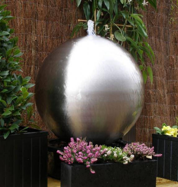 Brushed 75cm Stainless Steel Sphere Water Feature, LED Lights