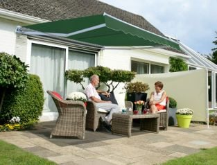 3.5m Budget Manual Awning, Plain Green