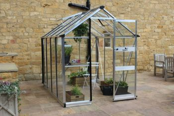 Eden Burford Zero Threshold™ Aluminium Frame Greenhouse 6ft x 8ft in Silver