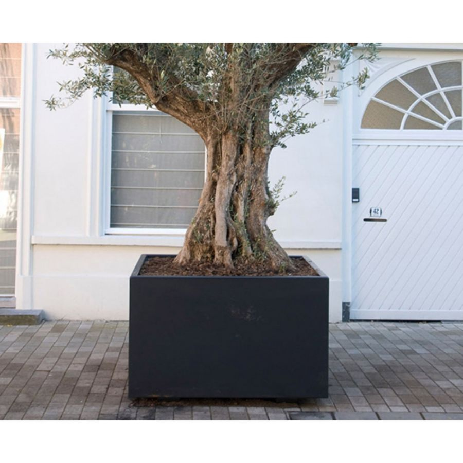 100cm Buxus Fibreglass Tall Cube Planter In Black By Adezz