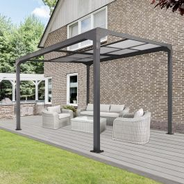 12.8ft x 10ft Anthracite Veranda Garden Canopy Gazebo with Retractable Sliding Roof - Freestanding - Primrose™
