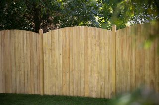 6ft x 6ft Fence Panel Pack of 3 - Pressure Treated Featheredge Dome Top