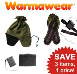Warmawear™ Heated Insoles, Hat/Scarf and Heat Pad Set