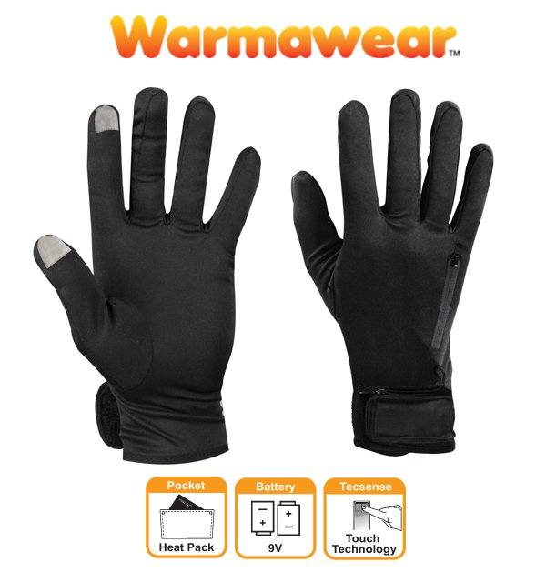 Dual Fuel Battery Heated Glove Liners - by Warmawear™ Also Perfect for Running and Cycling