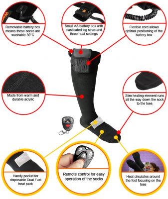 Warmawear™ Battery Heated Socks with Dual Fuel Pocket, Remote Control with Free Heat Packs