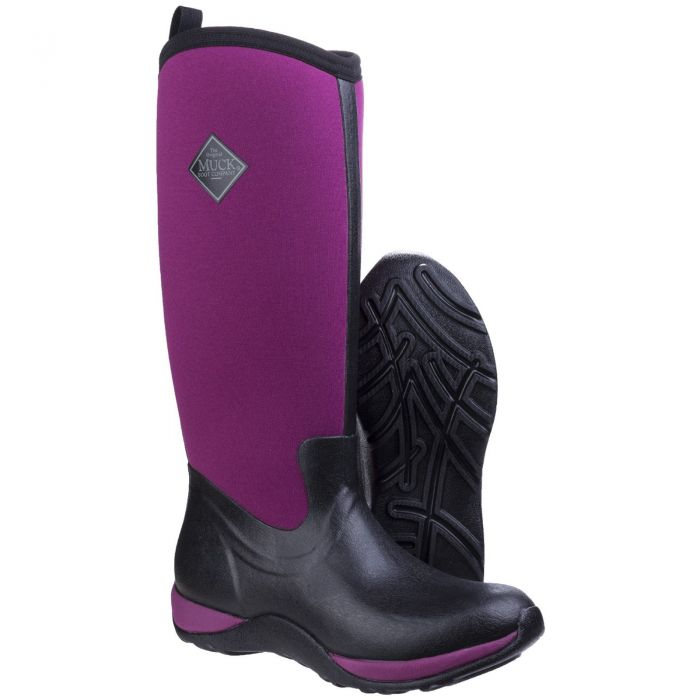 Arctic Adventure Black/Maroon Ladies Slimming Look Wellington Boots by Muck Boot - Sizes 3-9