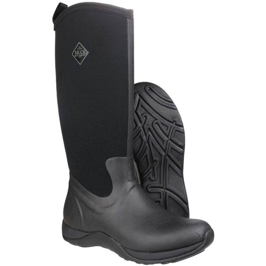 Arctic Adventure Black Ladies Slimming Look Wellington Boots by Muck Boot - Sizes 3-9