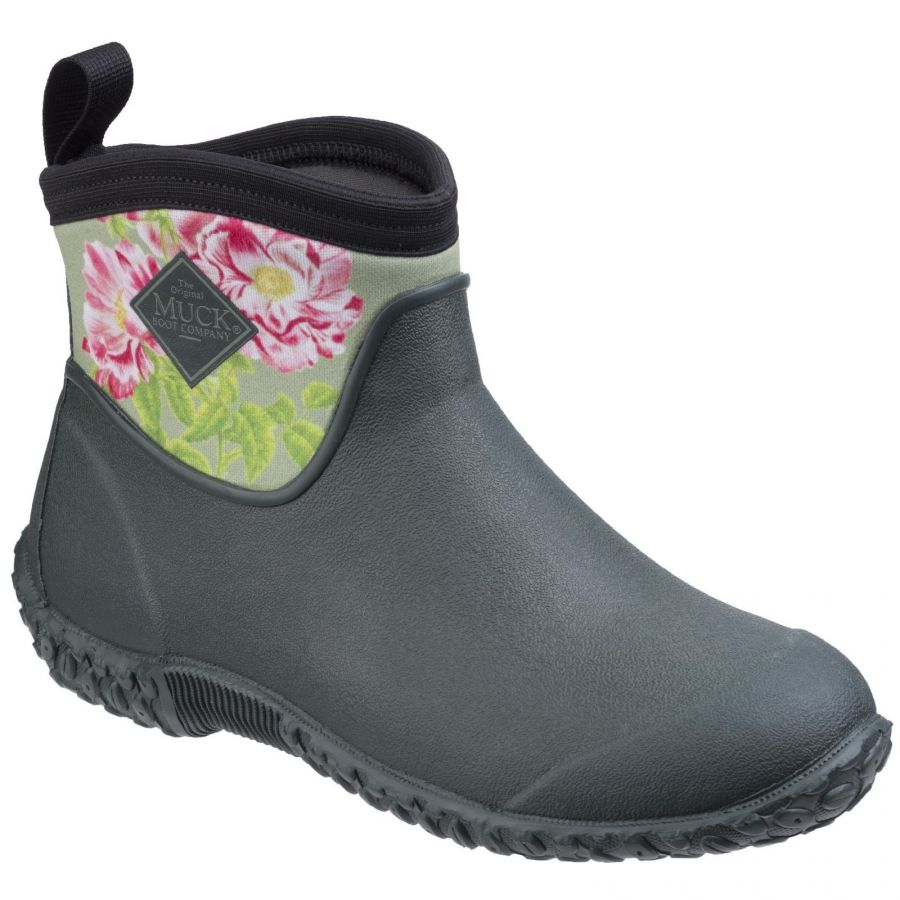 Muckster II Green / Rosa-Gallica RHS Print Women's Wellington Boot by Muck Boot - Sizes 3-9