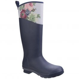 Tremont Navy / Grey Rose Passiflora RHS Print Women's Wellington Boot by Muck Boot - Sizes 3-9
