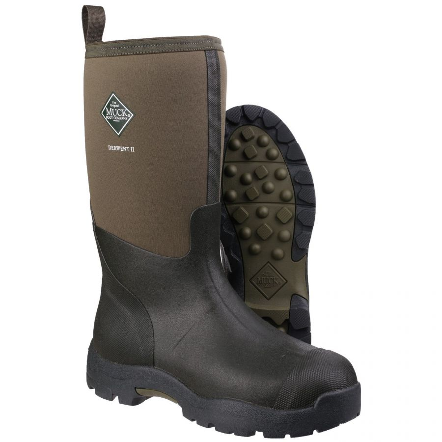 Unisex Wellington Boots Derwent II Moss by Muck Boot - Sizes 4-13
