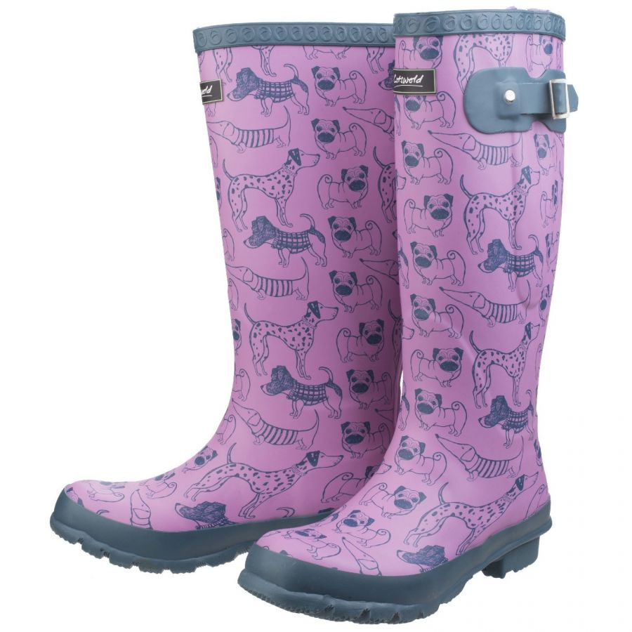 Windsor Dog Print Women's  Patterned Wellington by Cotswold - Sizes 3-7
