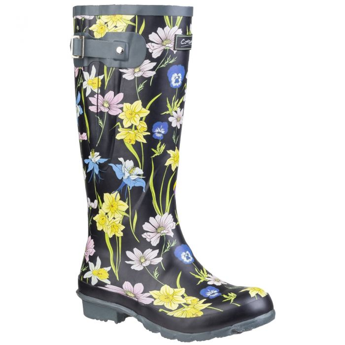 Windsor Black Floral Print Women's Patterned Wellington by Cotswold - Sizes 3-7
