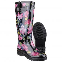 Rosefest Black Women's Patterned Wellington by Cotswold - Sizes 3-8