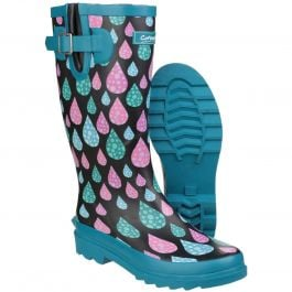 Burghley Raindrop Pattern Women's Patterened Wellington by Cotswold - Sizes 3-8