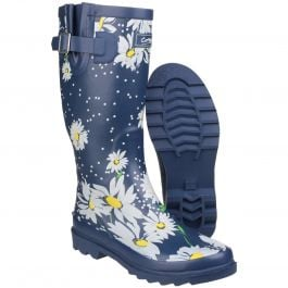 Burghley Daisy Pattern Women's Patterned Wellington by Cotswold - Sizes 3-8