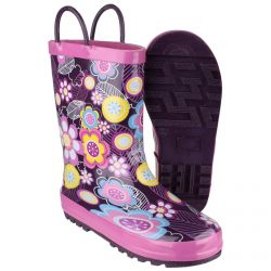 Puddle Boot Flower Print Children's PVC Wellington by Cotswolds- Sizes 4.5 - 13