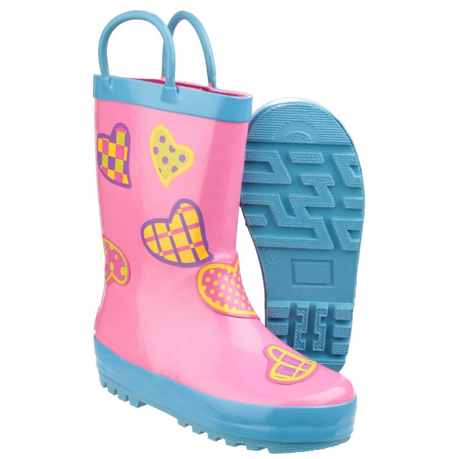 Puddle Boot Heart Print Children's PVC Wellington by Cotswold - Sizes 4.5 - 13