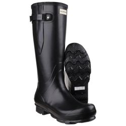 Women's Black Norris Adjustable Plain Rubber Wellington By Hunter - Sizes 3 - 12