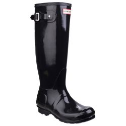 Women's Black Tall Gloss Wellington By Hunter - Sizes 3 - 8