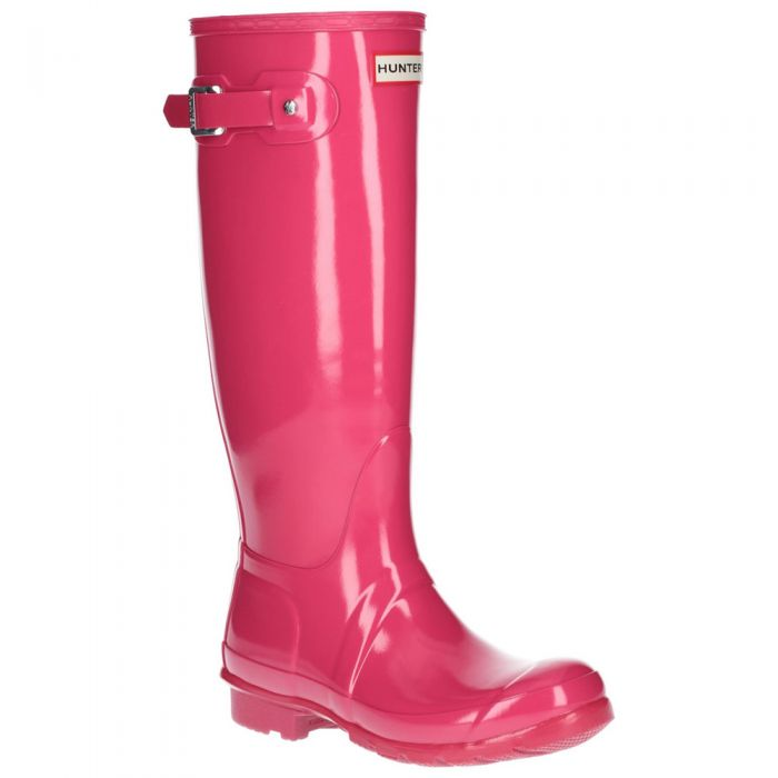 Women's Bright Pink Tall Gloss Wellington By Hunter - Sizes 3 - 8