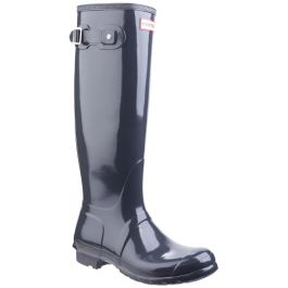 Women's Dark Slate Tall Gloss Wellington By Hunter - Sizes 3 - 8