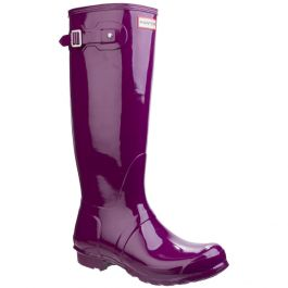 Women's Violet Tall Gloss Wellington By Hunter - Sizes 3 - 8
