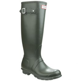 Women's Dark Olive Original Tall Plain Rubber Wellington By Hunter - Sizes 3 - 8