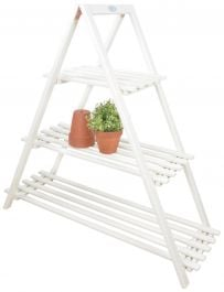 Outdoor Wooden Triangle Plant Ladder - 107cm