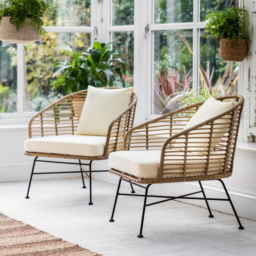 Set of 2 Hampstead All-Weather Bamboo Armchairs