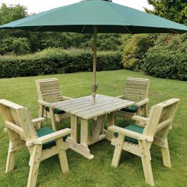 Ergo Redwood Four Seater Garden Dining Set - 2.45m (8ft)