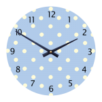"Spotty 11"" Children's/Toddlers' Wall Clock - Blue with White Dots"