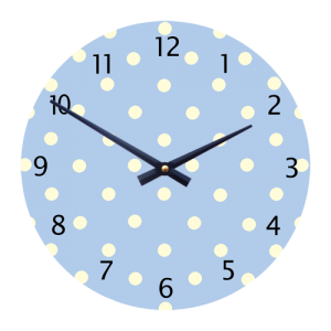 children's/Toddlers wall clock - blue with white dots