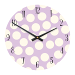 "Spotty 11"" Children's/Toddlers' Wall Clock - Lilac with White Dots"