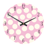"Spotty 11"" Children's/Toddlers' Wall Clock - Pink with White Dots"