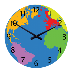 Geography World Map clock