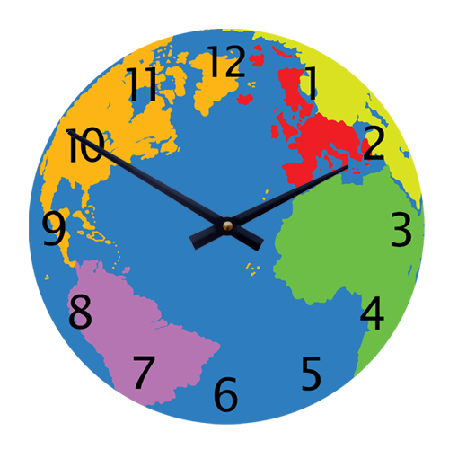 Geography world map 11quot children39s toddlers39 wall clock gbp2599 for Wall clock images for kids